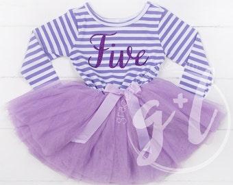 Quinto Vestido de traje de cumpleaños, cumpleaños 5 º vestido, Sophia el primer vestido tutú para niñas de 5 º cumpleaños, tutu morado