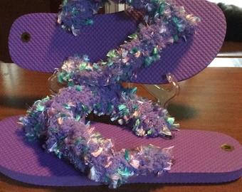 Crocheted Fringe Fun Flip Flop size medium