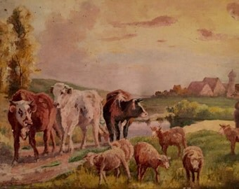 Cows near a farmhouse in France (antique oil painting)
