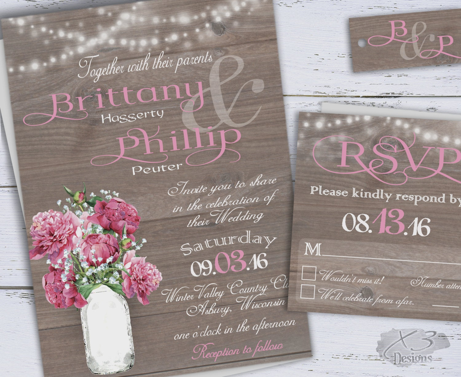 Rustic diy printable wedding invitation spring wedding for Diy rustic chic wedding invitations free printable template ahandcraftedwedding