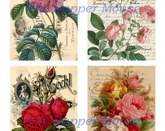 Printable Roses Collage Sheet Printable Vintage Roses Commercial Use