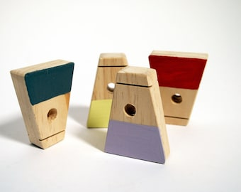Children's wooden Montessori blocks - Trapezium