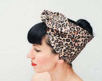 Rock Rockabilly 50s Pin Up Leopard print headband headscarf bandana
