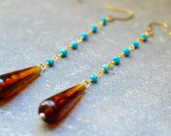 Long Earrings, Long Boho Earrings, Long Mineral Earrings, Long Turquoise Earrings, Gemstone Earrings, 14k Gold Chain Earrings,