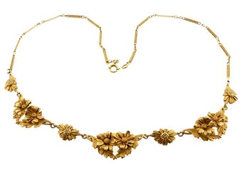 French Art Nouveau 18K Gold Daisy Necklace