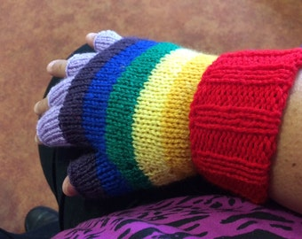 Adult Striped fingerless gloves