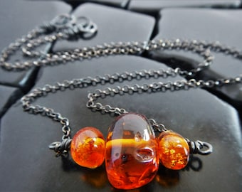 Baltic Amber and Sterling Silver Bar Necklace, Natural Amber Necklace, Genuine Amber Necklace, Oxidized Silver, Blackened Silver Necklace