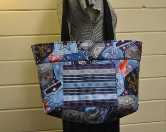 Tote Bag, Quilted, Jean Pockets, Blue