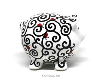 Swirly Piggy Bank, small, hand painted