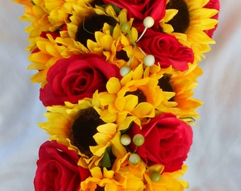 Cascading sunflowers bouquet 2 pieces