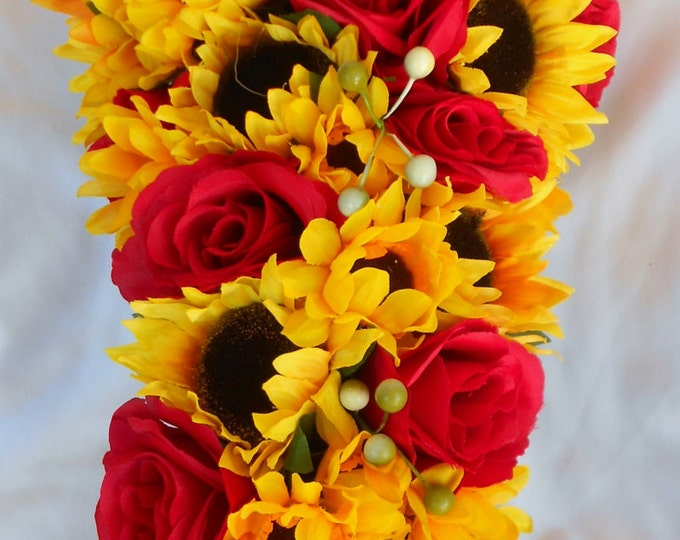 Fall cascade bride bouquet Sunflowers and roses 2 pc
