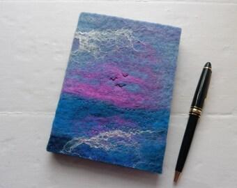 A6 Handfelted Notebook Journal: Pink Sunset