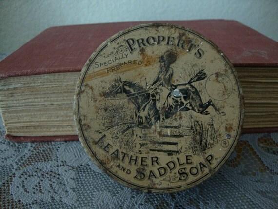 antique 1890 39 s propert 39 s leather saddle soap litho. Black Bedroom Furniture Sets. Home Design Ideas
