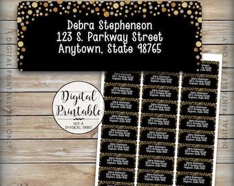 "Address Labels Printable, Gold Glitter Address Labels, Return Address Labels, Printer Labels, 1x2-5/8"" Labels on 8.5x11"" Printable Sheet"