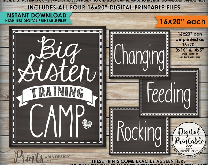 "Big Sister Training Camp Photo Props, Pregnant Baby #2 Announcement, FOUR 16x20"" Chalkboard Style Instant Download Digital Printable Files"