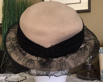 Women's 1940's Felt and Lace Hat