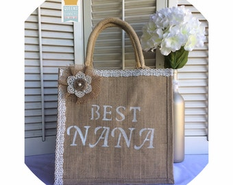 Jute Tote, Mothers Day Gift, Best Nana, Jute Bag, Gift for Nana, Gift for Grandma, Best Gift For Women, Gifts for Mom, Best GrandmaTote