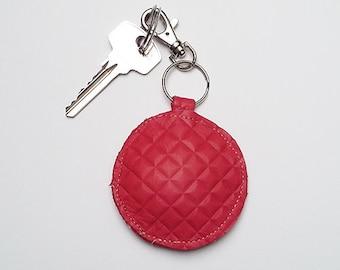 Raspberry Leather Keyring