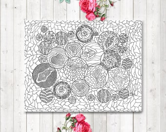 Adult Coloring Page, Fish Coloring Page, Instant Download, Colouring Page, Zendoodle Coloring, Printable Coloring, Relaxation Gifts