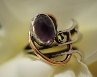 Amethyst plaque sterling silver antique style ring Fedex Free Shipping