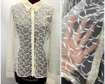 RALPH LAUREN 90s Vtg M Medium Sheer Blouse Button Down Shirt Embroidered  Netting
