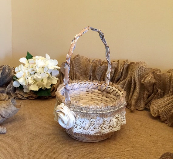 How To Make A Lace Flower Girl Basket : Handmade burlap and lace flower girl basket by