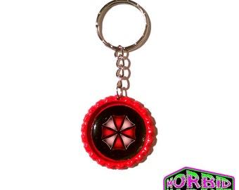 Resident Evil Umbrella Corporation Bottle Cap Horror Key Chain