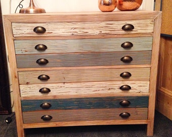 Rustic chest drawer seaside blue white washed