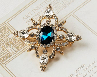 Vintage Style Blue Stone Brooch (BR026) ~ Wedding, Anniversary, Bridesmaid, Vintage, Birthday Gift