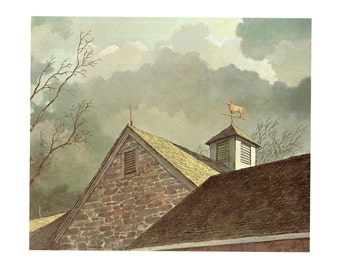 The roof line of one of the stone barns and the Cow weather vane from the book Eric Sloanes I Remember America