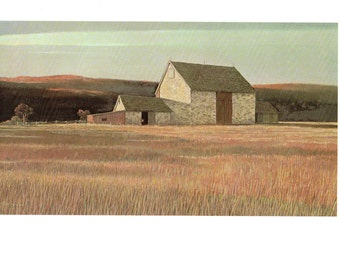 A rare New Jersey stone Barn painted by Eric Sloane for his book I Remember America