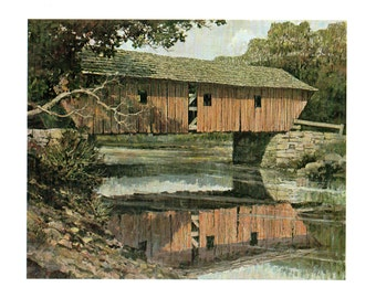 The Lovejoy bridge over The Ellis River in Maine from the book Eric Sloane's I Remember America