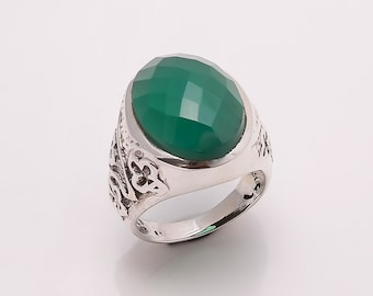925 Solid Sterling Fine Silver Green Onyx Ring