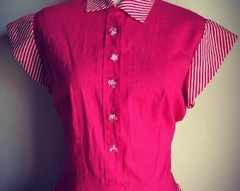 1950s hot pink striped sun dress!