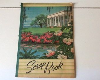 Vintage Lithographed Paper Scrapbook /Unused Scrapbook/Waterlilly Pond Litho/Paper Emphera/Softcover Scrapbook/LItho USA/Paperback Scrapbook