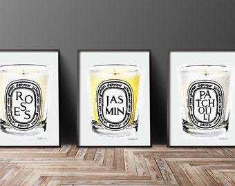 Candle, Set of 3, Bathroom, Fashion, Wall Art, Fashion Illustration, Fashion Prints, Fashion Poster, Art Set, Watercolor, bedroom, wall art