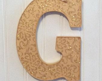 gold glitter letterwall letterwood letterletter arthanging letterdecorated letterwood initialletter for teen girlgirl dorm decor