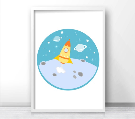 Outer Space Kids Wall Art Rocket Ship Print Boys Room Decor
