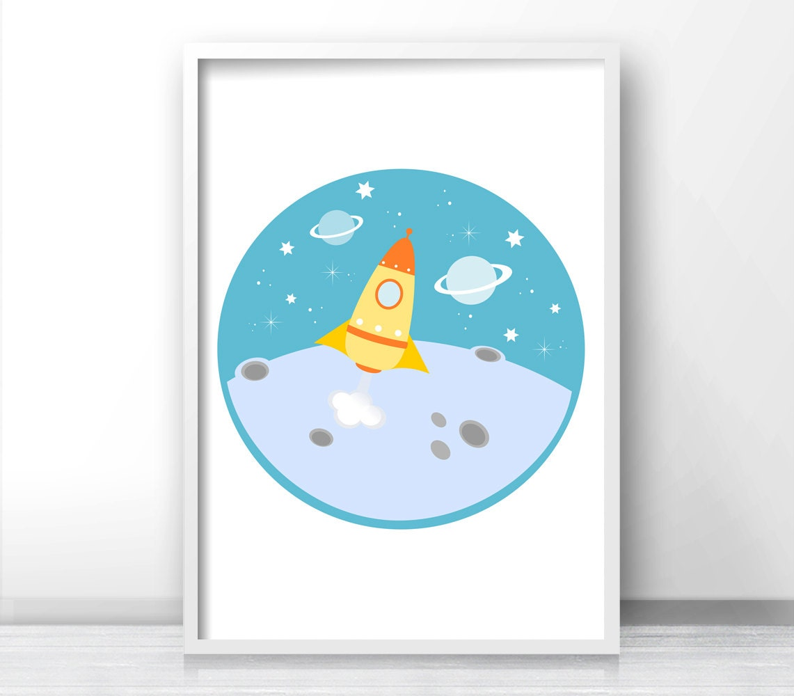 Outer space kids wall art rocket ship print boys room decor for Outer space childrens decor
