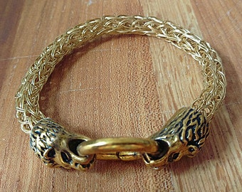Double Strand Viking Knit Brass Bracelet with Wolf Clasp