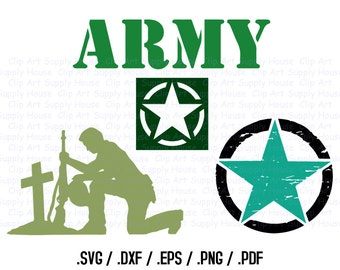 Military SVG File, Army SVG Art, Support Our Troops Design Files, Silhouette Software, dxf files, svg file, EPS File, Cricut Design - CA252