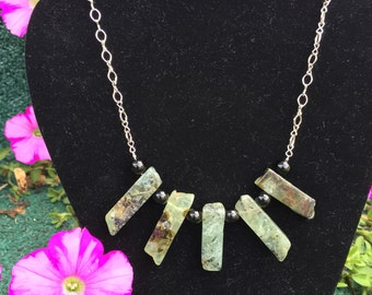 Prehnite with Obsidian Necklace