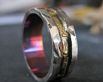 Mens Wedding Band Mens Wedding Ring Rustic Man Wedding Band Gold Silver Wedding Band Unique Mens Wedding Band Viking Wedding Ring Mens Ring