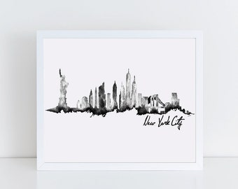 New York City Skyline Print, Black & White, Watercolor Art, Wall Decor, NYC Travel Art, Minimalist Poster, Wall Art