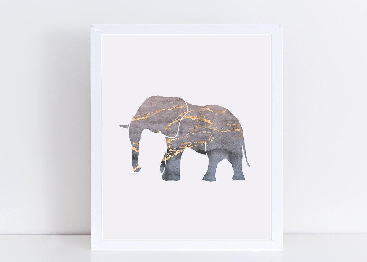 Gold Elephant Wall Decor : Elephant art print blue watercolor dorm wall gold