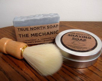 Gentleman's Gift Package - Shaving Soap and Brush & Choice Bar Soap