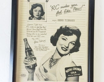 1951 Gene Tierney RC Cola Ad LIFE Magazine Framed