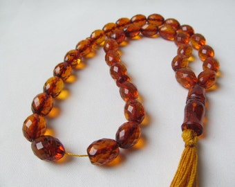 Baltic Amber Faceted Beads rosary 33 beads Baltic Amber Cognac Beads 36,3 g Prayer beads