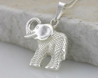 Sterling Silver Elephant Necklace, Silver Elephant Charm. Sterling Silver Good Luck Charm Necklace, Elephant Jewelry,