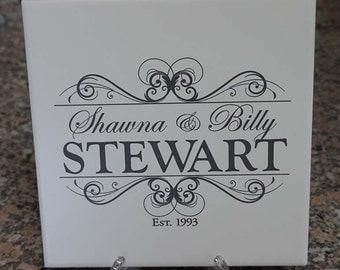 Monogram Family Name ~ Ceramic Trivet ~ Engraved Ceramic Tile